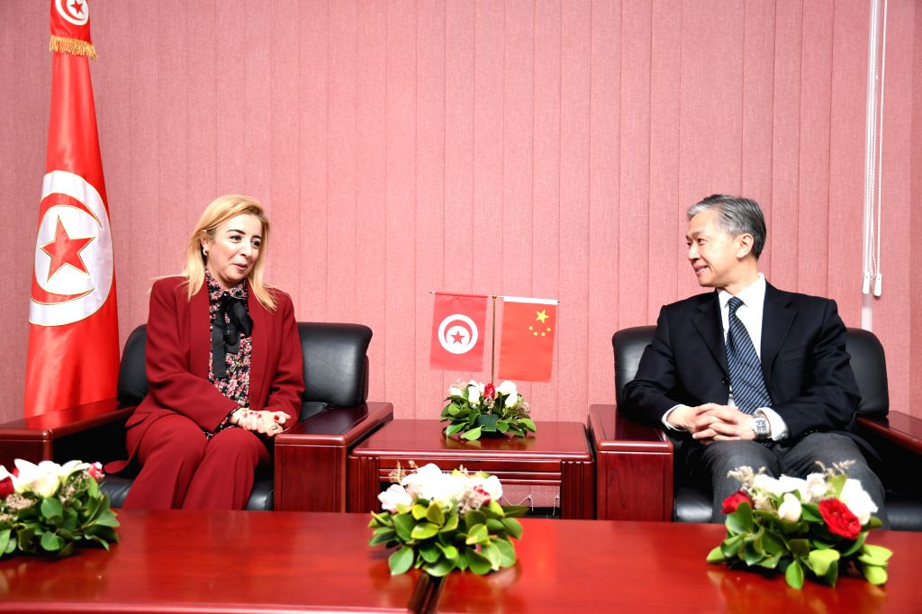 TUNIS, Feb. 13, 2019 - Chinese Ambassador to Tunisia Wang Wenbin (R) meets with Tunisian Minister of Youth and Sports Sonia Ben Cheikh in El Menzah Culture and Sports Youth Center in Tunis, Tunisia, ...