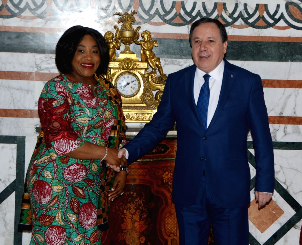 TUNIS, Feb. 18, 2019 - Tunisian Foreign Minister Khemais Jhinaoui (R) meets with Ghana's Minister for Foreign Affairs and Regional Integration Shirley Ayorkor Botchwey in Tunis, Tunisia, Feb. 18, ... - Khemais Jhinaoui