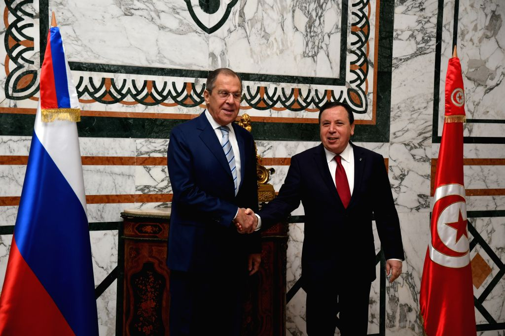 TUNIS, Jan. 26, 2019 - Tunisian Foreign Minister Khemais Jhinaoui (R) meets with his Russian counterpart Sergei Lavrov in Tunis, capital of Tunisia, Jan. 26, 2019. Sergei Lavrov pays an official ... - Khemais Jhinaoui