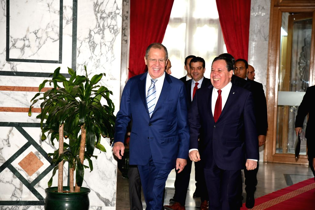TUNIS, Jan. 26, 2019 - Tunisian Foreign Minister Khemais Jhinaoui (R front) meets with his Russian counterpart Sergei Lavrov (L front) in Tunis, capital of Tunisia, Jan. 26, 2019. Sergei Lavrov pays ... - Khemais Jhinaoui