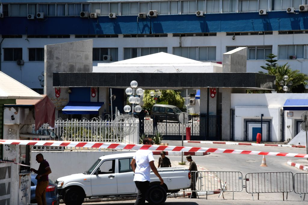TUNIS, July 25, 2019 - Photo taken on July 25, 2019 shows the Tunisian Military Hospital in Tunis, Tunisia. Tunisian President Beji Caid Essebsi died on Thursday at the age of 92 at the military ...