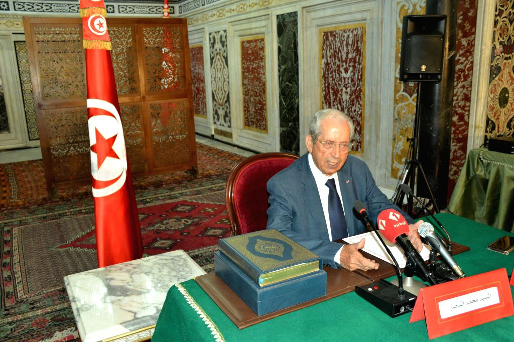 TUNIS, July 25, 2019 - Tunisian President of the Assembly of People's Representatives Mohamed Ennaceur speaks during a swearing-in ceremony as interim president of Tunisia in Tunis, Tunisia, on July ...