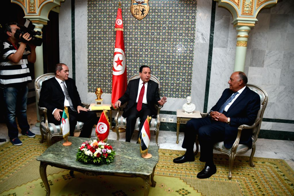 TUNIS, June 12, 2019 - Tunisian Foreign Minister Khemaies Jhinaoui (C) meets with Egyptian Foreign Minister Sameh Shoukry (R) and Algerian Foreign Minister Sabri Boukadoum in Tunis, Tunisia, on June ... - Khemaies Jhinaoui
