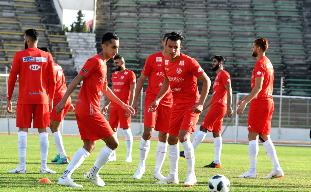 TUNIS, June 5, 2018 - Tunisian football team players attend a training session in preparation for 2018 FIFA World Cup in Tunis capital of Tunisia, June 4, 2018.
