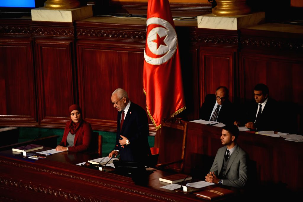 TUNIS, Nov. 13, 2019 - Rached Ghannouchi (C, front), president of Tunisia's Ennahdha Party, speaks after he was elected as the president of the Assembly of the Representatives of the People (ARP) in ...
