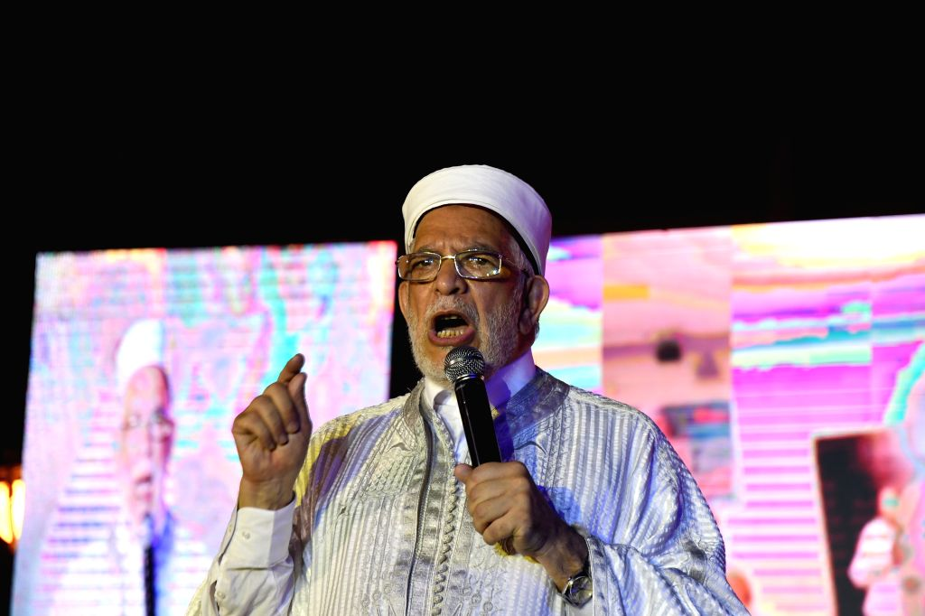 TUNIS, Sept. 13, 2019 - Tunisian presidential candidate Abdelfattah Mourou makes remarks in an election campaign in Tunis, Tunisia, on Sept. 13, 2019. There are 26 candidates running for the ...