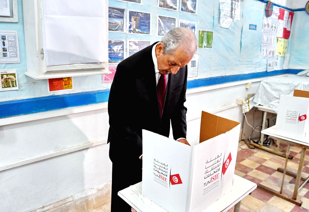 TUNIS, Sept. 15, 2019 - Tunisian Interim President Mohamed Ennaceur prepares to cast his ballot at a polling center in Tunis, Tunisia, Sept. 15, 2019. The polling centers for the early presidential ...