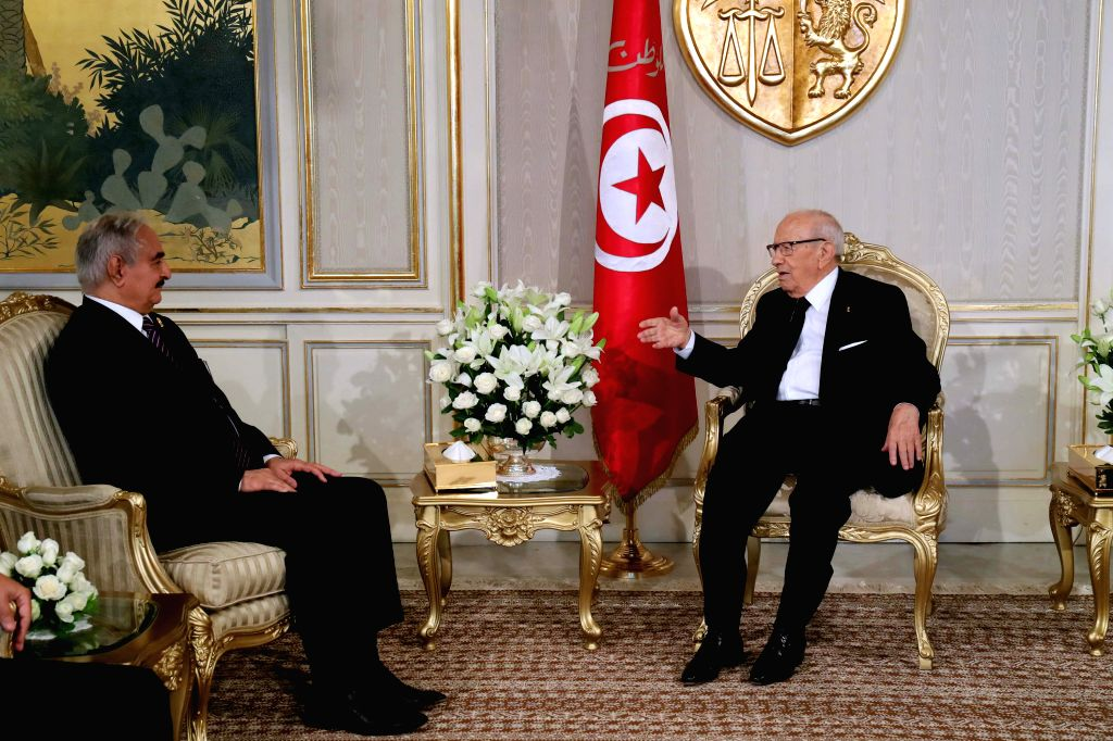 TUNIS, Sept. 19, 2017 - Tunisian President Beji Caid Essebsi (R) meets with Libya's self-proclaimed National Army chief, General Khalifa Haftar in Tunis, capital of Tunisia, on Sept. 18, 2017. Beji ...