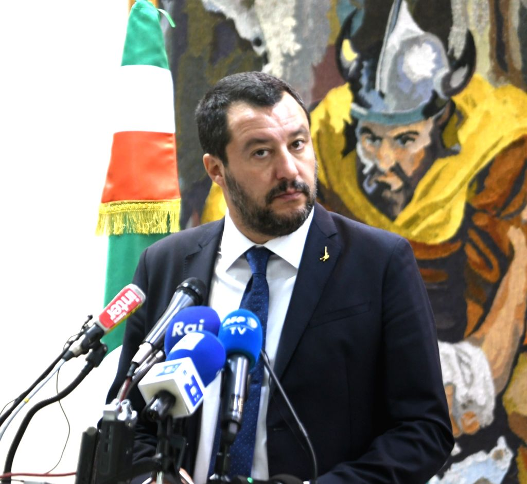 TUNIS, Sept. 27, 2018 (Xinhua) -- Italian Interior Minister Matteo Salvini attends a press conference with Tunisian Interior Minister Hichem Fourati (not in the picture) in Tunis, Tunisia, on Sept. 27, 2018. Italy will make efforts to halt illegal im - Matteo Salvini