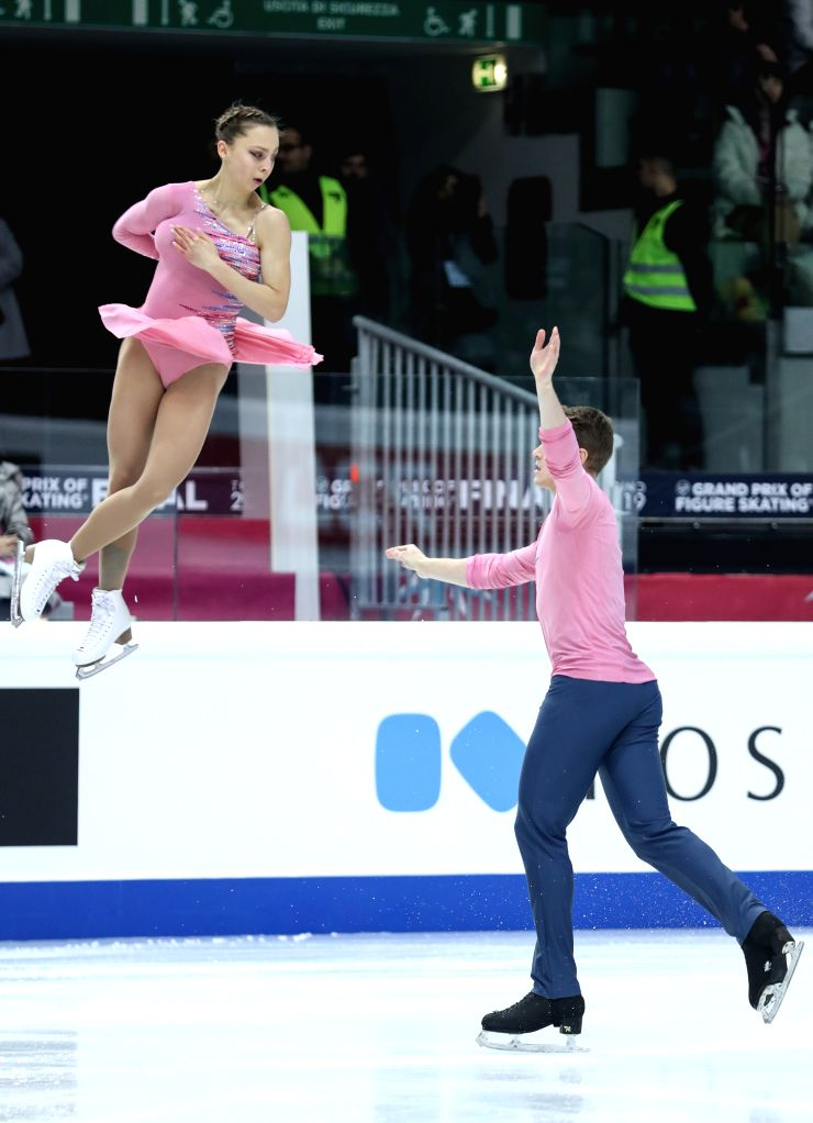 TURIN, Dec. 6, 2019 - Aleksandra Boikova (L)/Dmitrii Kozlovskii of Russia compete during the pairs short program at the ISU Grand Prix of Figure Skating Final 2019 in Turin, Italy, Dec. 5, 2019.