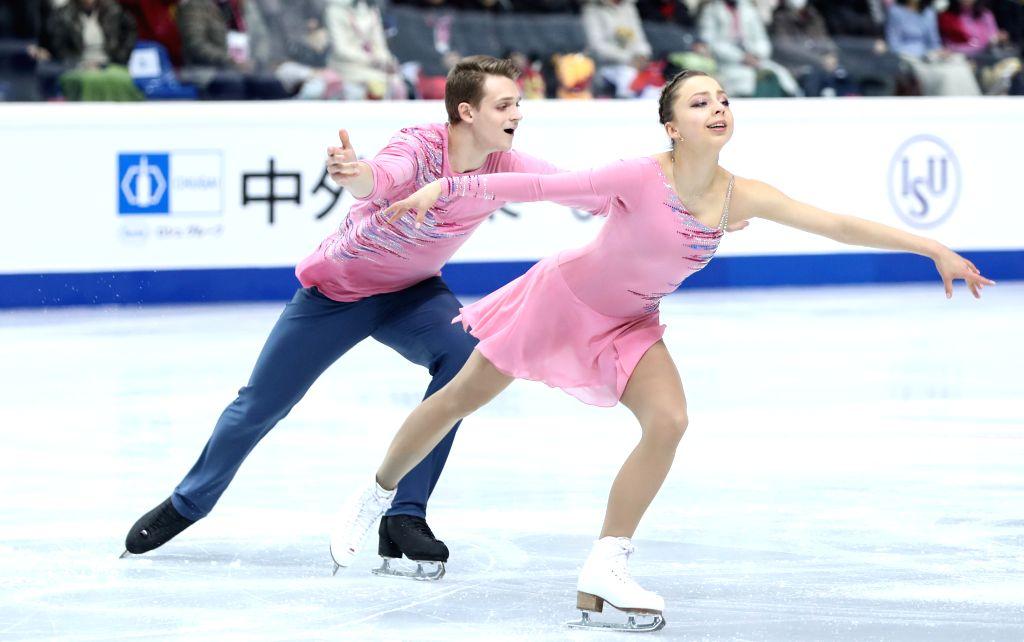 TURIN, Dec. 6, 2019 - Aleksandra Boikova (R)/Dmitrii Kozlovskii of Russia compete during the pairs short program at the ISU Grand Prix of Figure Skating Final 2019 in Turin, Italy, Dec. 5, 2019.