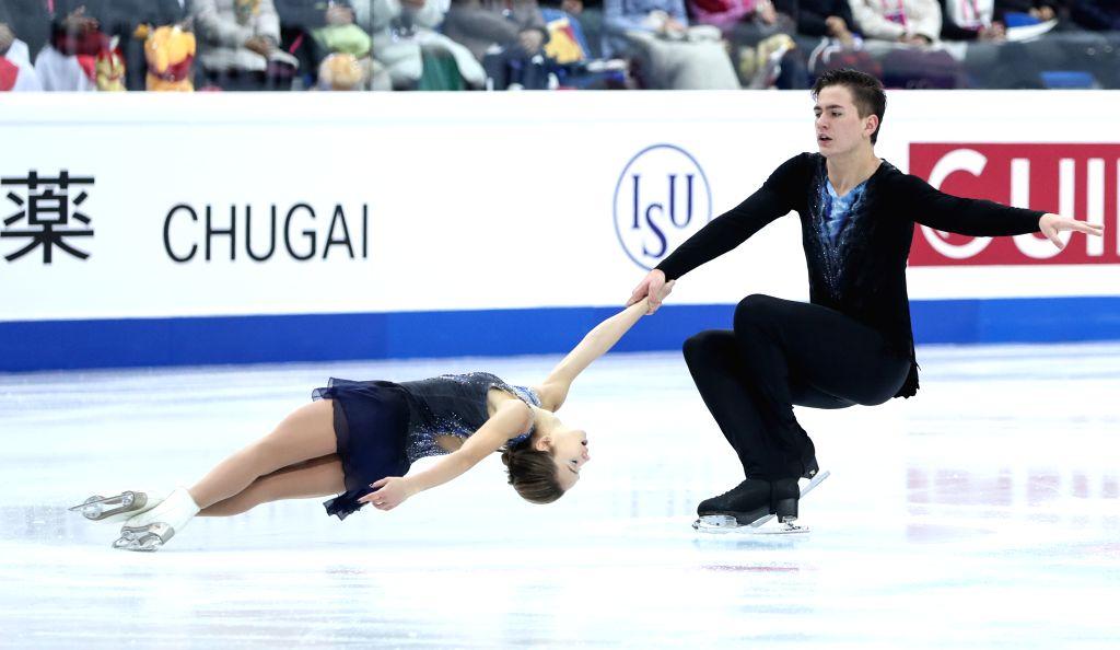TURIN, Dec. 6, 2019 - Daria Pavliuchenko (L)/Denis Khodykin of Russia compete during the pairs short program at the ISU Grand Prix of Figure Skating Final 2019 in Turin, Italy, Dec. 5, 2019.