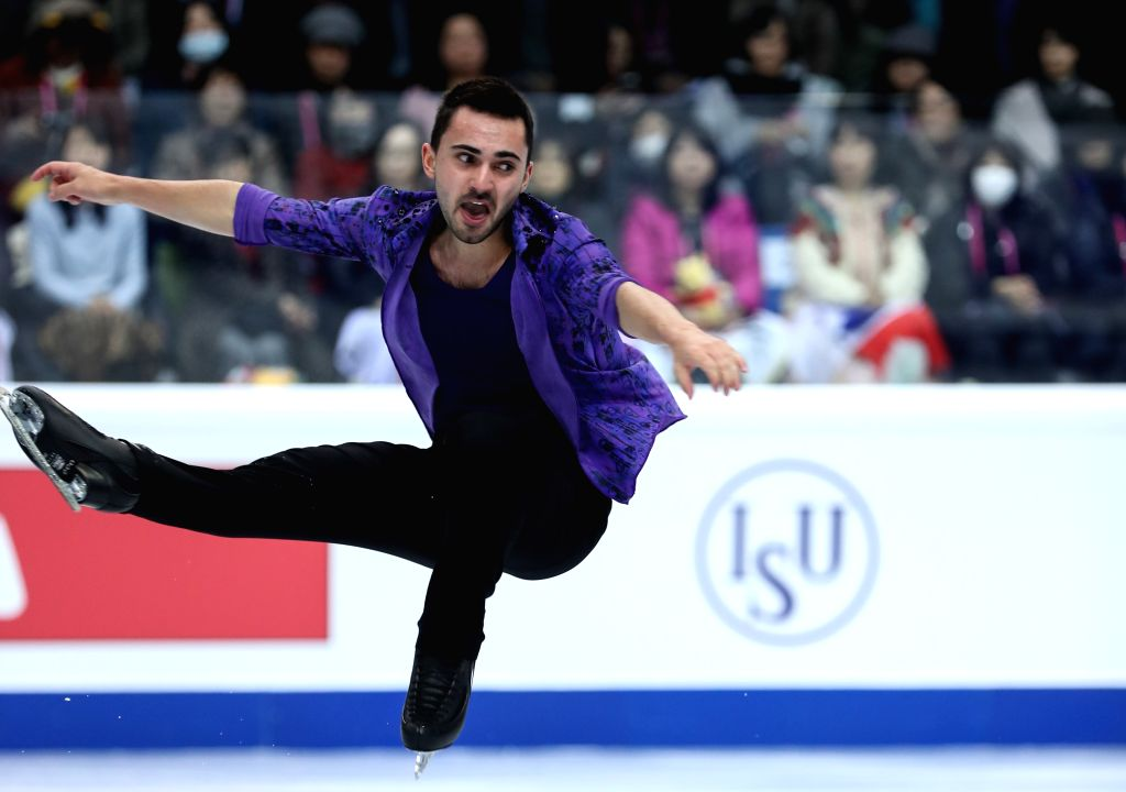 TURIN, Dec. 6, 2019 - Kevin Aymoz of France competes during the men's short program at the ISU Grand Prix of Figure Skating Final 2019 in Turin, Italy, Dec. 5, 2019.