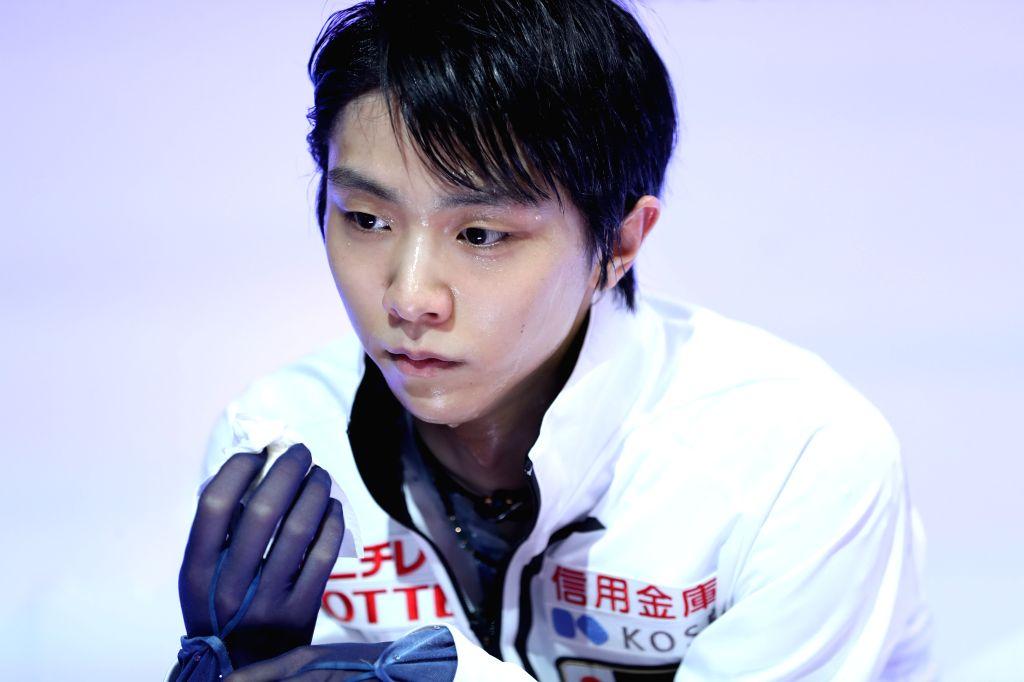 TURIN, Dec. 6, 2019 - Yuzuru Hanyu of Japan waits for the score after the men's short program at the ISU Grand Prix of Figure Skating Final 2019 in Turin, Italy, Dec. 5, 2019.