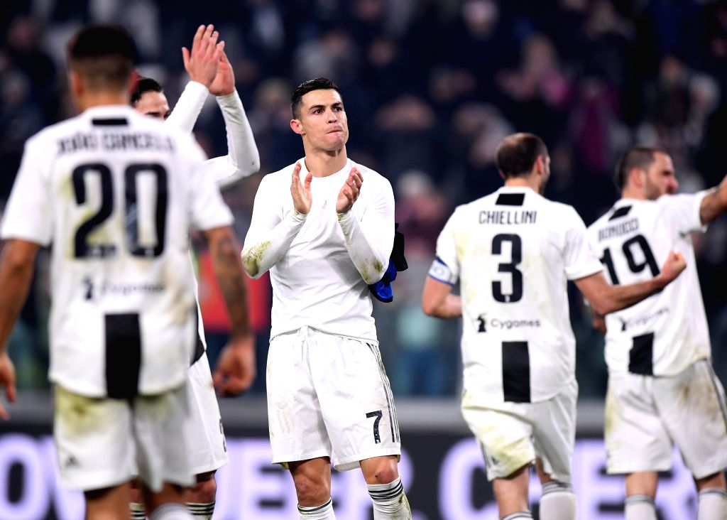 TURIN, Dec. 8, 2018 - FC Juventus' Cristiano Ronaldo (C) reacts after the Serie A soccer match between FC Juventus and Inter Milan in Turin, Italy, Dec.7, 2018. FC Juventus won 1-0.