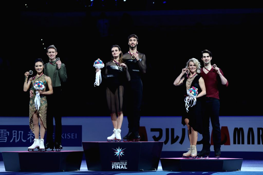 TURIN, Dec. 8, 2019 - Gold medalists Gabriella Papadakis (3rd L)/Guillaume Cizeron (3rd R) of France, silver medalists Madison Chock (1st L)/Evan Bates (2nd L) of the United States and bronze ...
