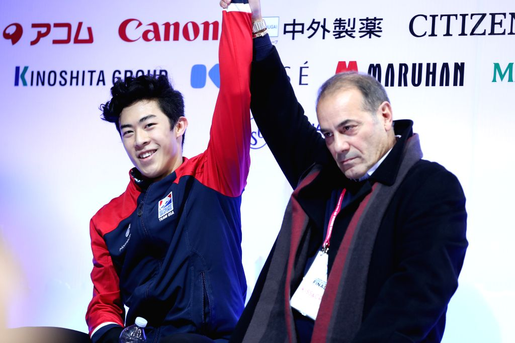 TURIN, Dec. 8, 2019 - Nathan Chen (L) of the United States waits for his score after the men's free skating at the ISU Grand Prix of Figure Skating Final 2019 in Turin, Italy, Dec. 7, 2019.