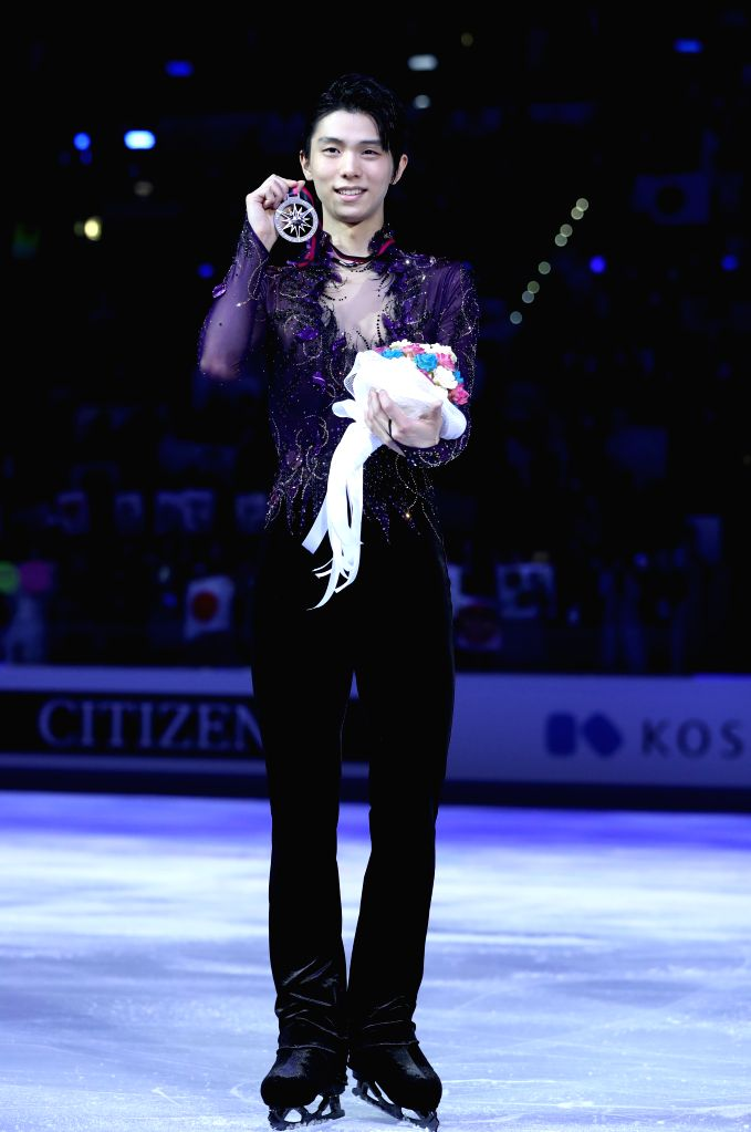 TURIN, Dec. 8, 2019 - Silver medalist Yuzuru Hanyu of Japan poses during the awarding ceremony after the men's free skating at the ISU Grand Prix of Figure Skating Final 2019 in Turin, Italy, Dec. 7, ...