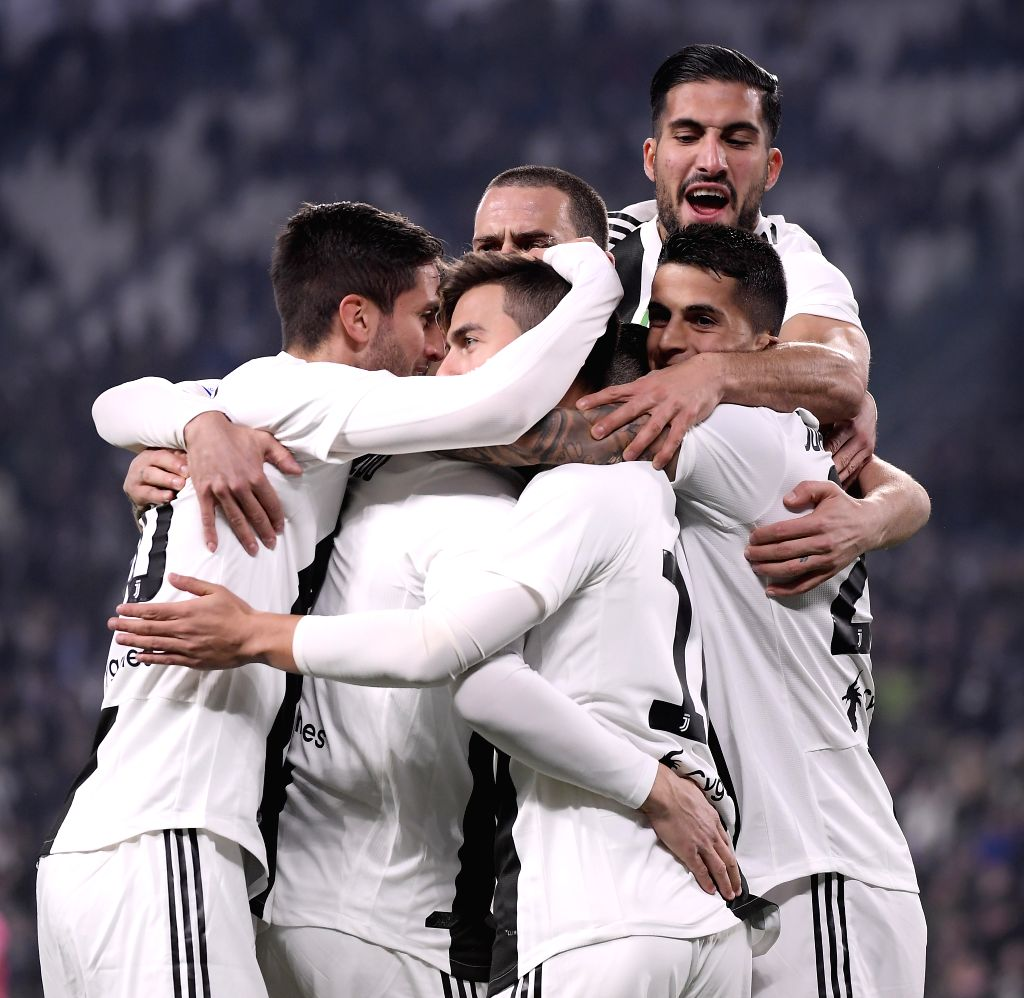 TURIN, Feb. 16, 2019 - Juventus' players celebrate the goal by Paulo Dybala during the Serie A soccer match between Juventus and Frosinone in Turin, Italy, Feb. 15, 2019. Juventus won 3-0.
