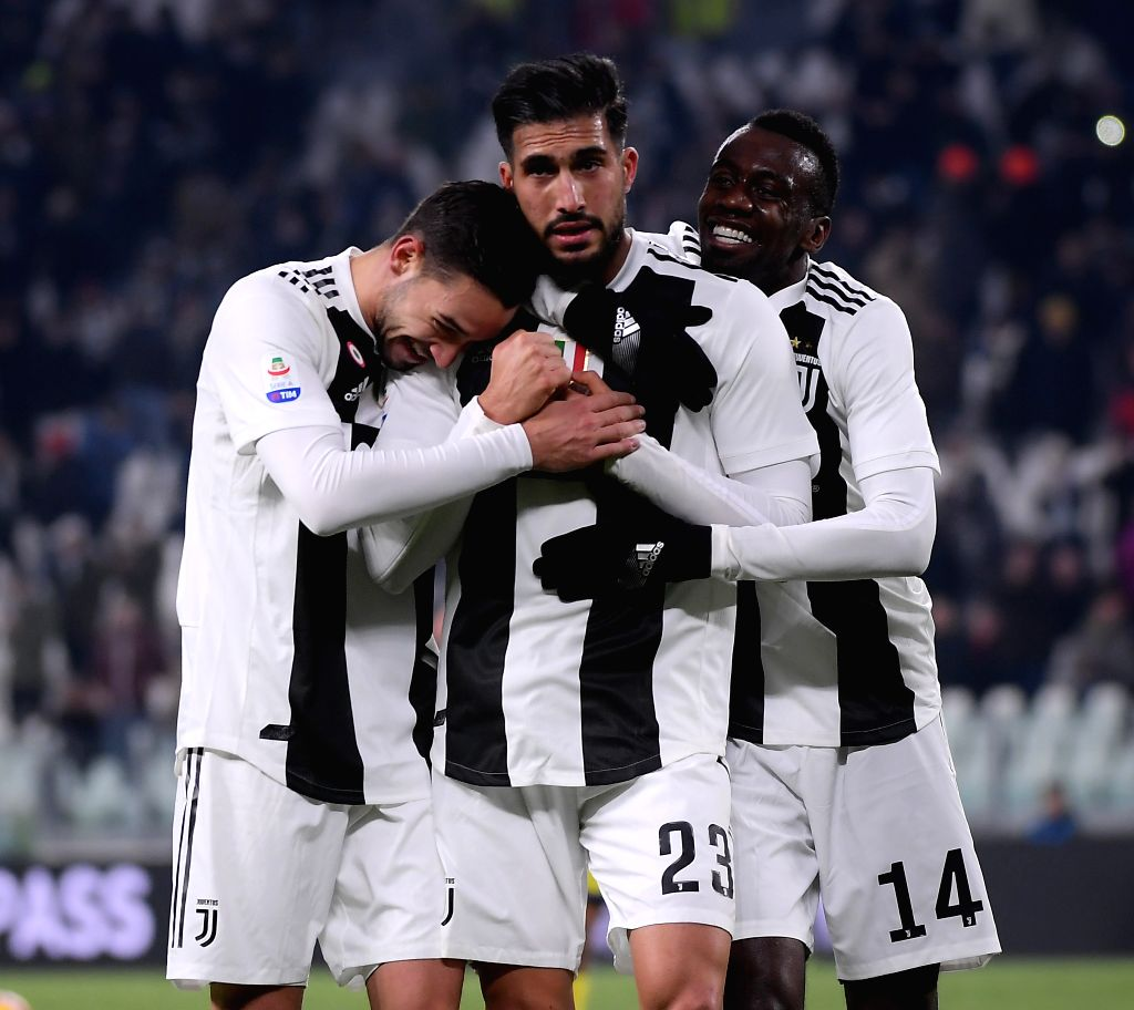 TURIN, Jan. 22, 2019 - FC Juventus' Emre Can (C) celebrates his goal with teammates during the Serie A soccer match between FC Juventus and Chievo Verona in Turin, Italy, Jan. 21, 2019. FC Juventus ...