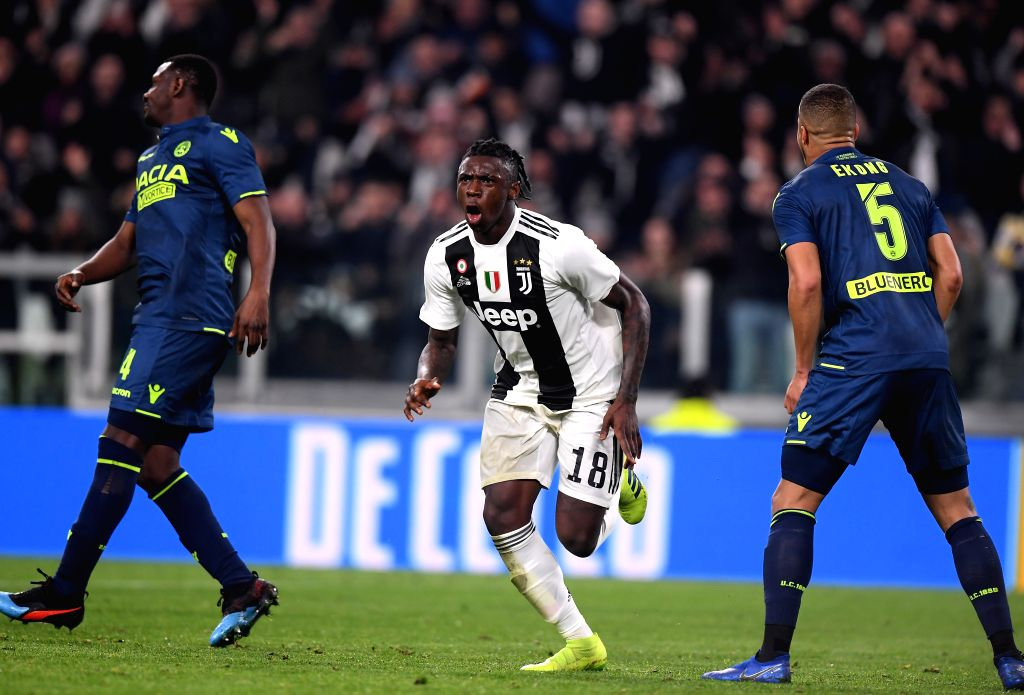 TURIN, March 9, 2019 - FC Juventus's Moise Kean (C) celebrates his goal during a Serie A soccer match between Juventus and Udinese in Turin, Italy, March 8, 2019. Juventus won 4-1.