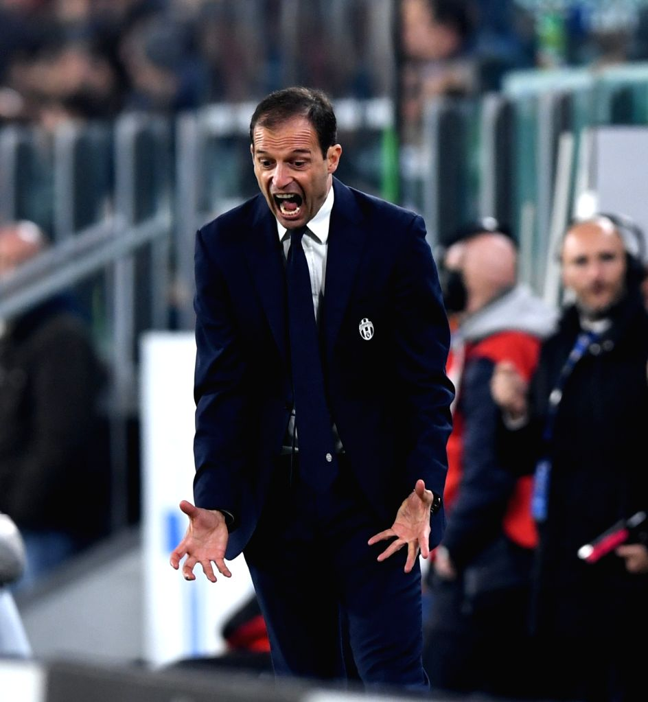 TURIN, Oct. 30, 2016 - Juventus' head coach Massimiliano Allegri gestures during the Italian Serie A football match between Juventus and Napoli in Turin, Italy, on Oct. 29, 2016. Juventus won 2-1.