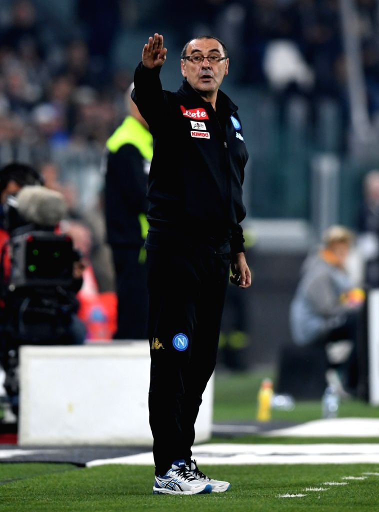 TURIN, Oct. 30, 2016 - Napoli's head coach Maurizo Sarri gestures during the Italian Serie A football match between Juventus and Napoli in Turin, Italy, on Oct. 29, 2016. Juventus won 2-1.