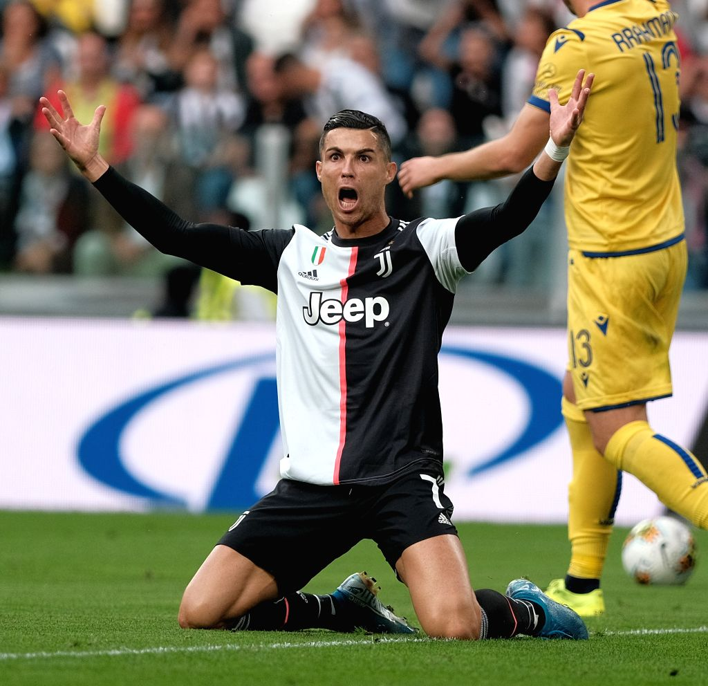 TURIN, Sept. 22, 2019 - Juventus' Cristiano Ronaldo reacts during a Serie A soccer match between Juventus and Verona in Turin, Italy, Sept. 21, 2019. Juventus won the match 2-1.