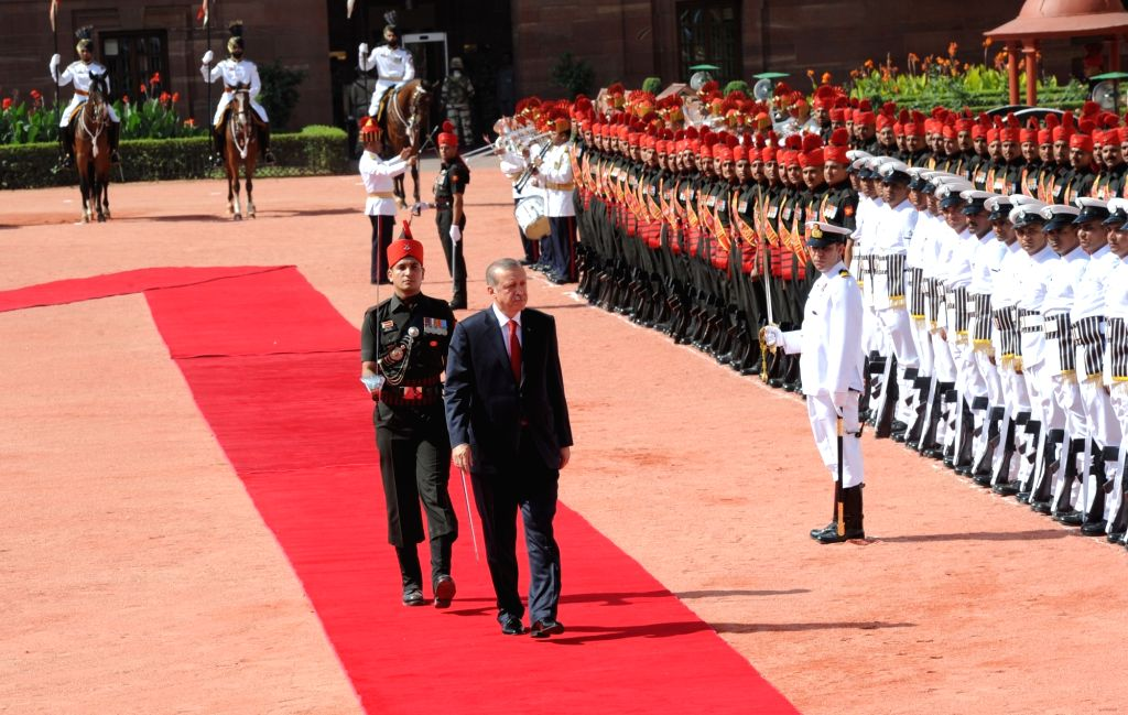Turkish President Recep Tayyip Erdogan inspects guard of honour at a Ceremonial Reception organised for him at Rashtrapati Bhavan, in New Delhi on May 1, 2017.