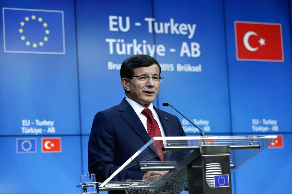 Turkish Prime Minister Ahmet Davutoglu addresses a joint press conference with the European Council President Donald Tusk (not in the picture) and the European ... - Ahmet Davutoglu