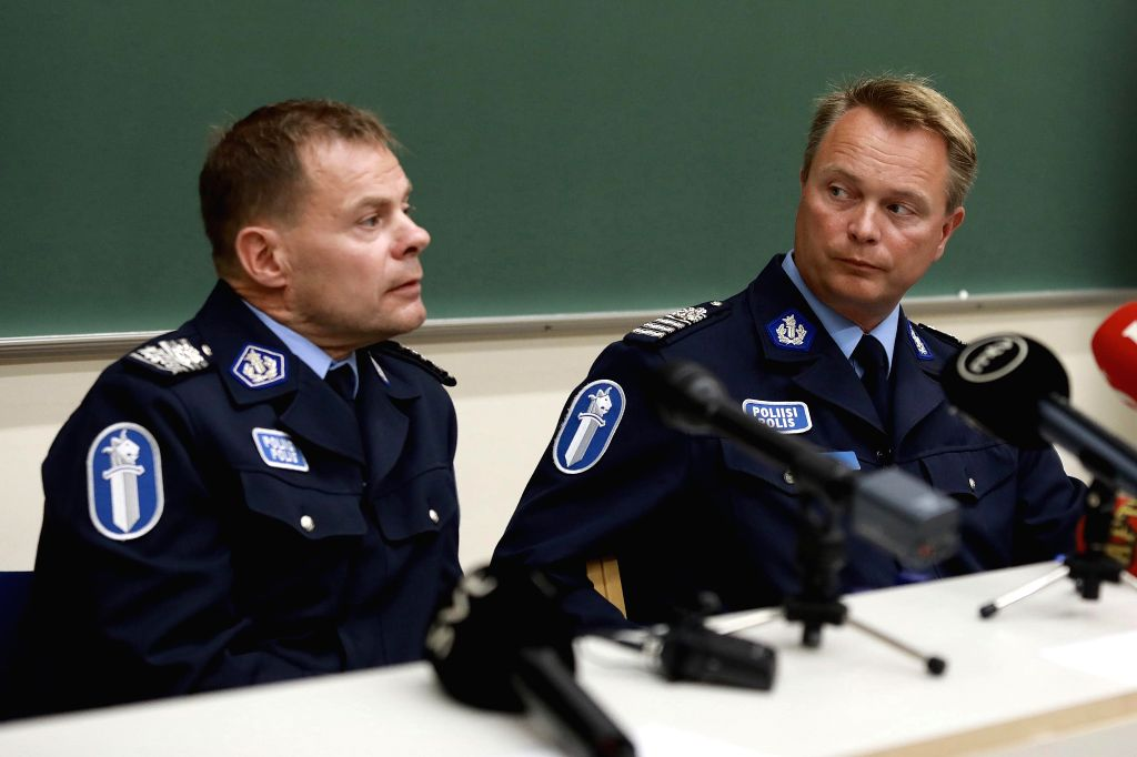 TURKU, Aug. 19, 2017 - Representatives from Finnish police attend a press conference in Turku, Finland, on Aug. 19, 2017. Another four Moroccans were detained and a warrant has been issued for a ...