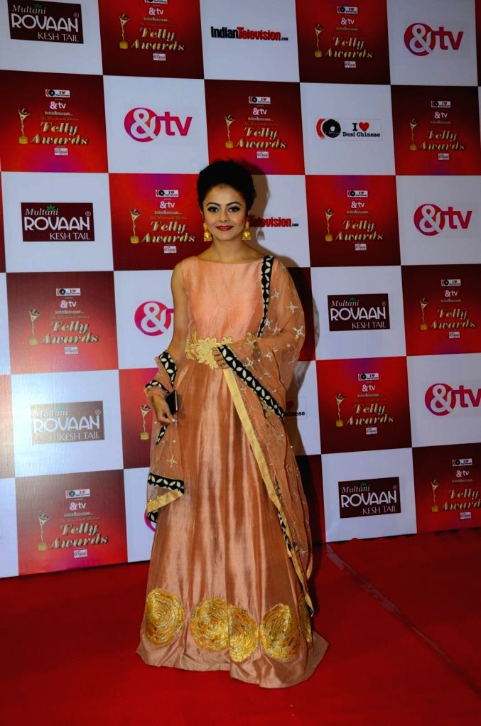 TV actress Devoleena Bhattacharjee during the 14th Indian Telly Awards in Mumbai, on Nov 28, 2015. - Devoleena Bhattacharjee