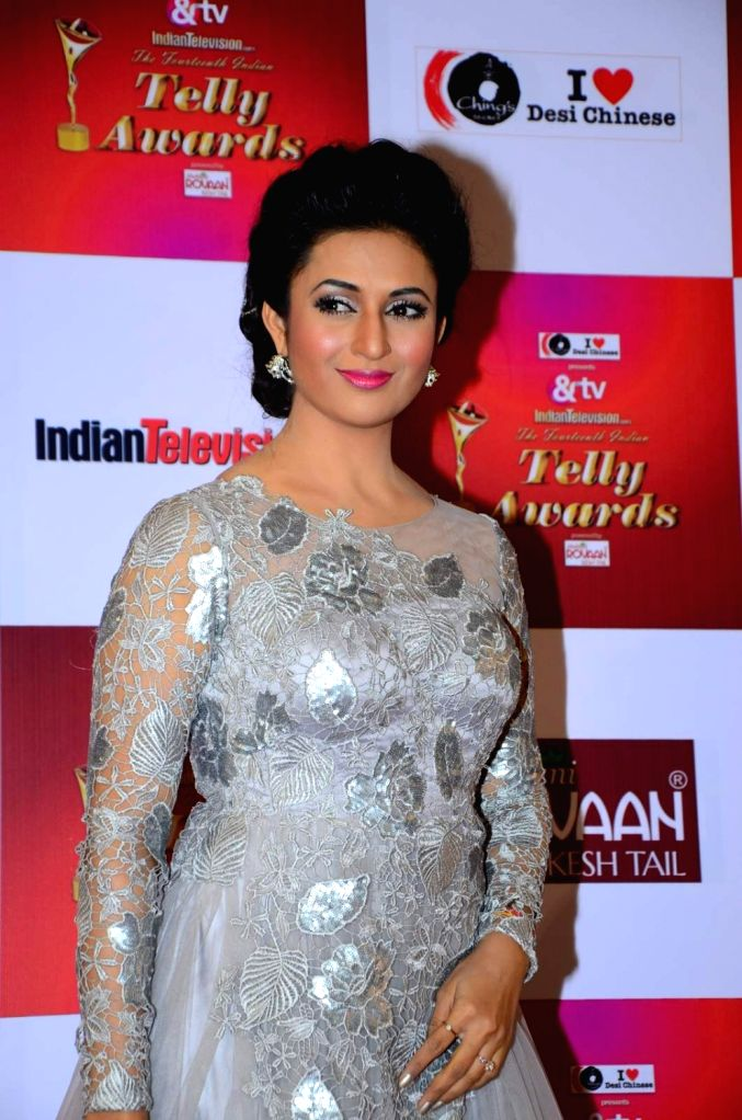 TV actress Divyanka Tripathi during the 14th Indian Telly Awards in Mumbai, on Nov 28, 2015. - Divyanka Tripathi