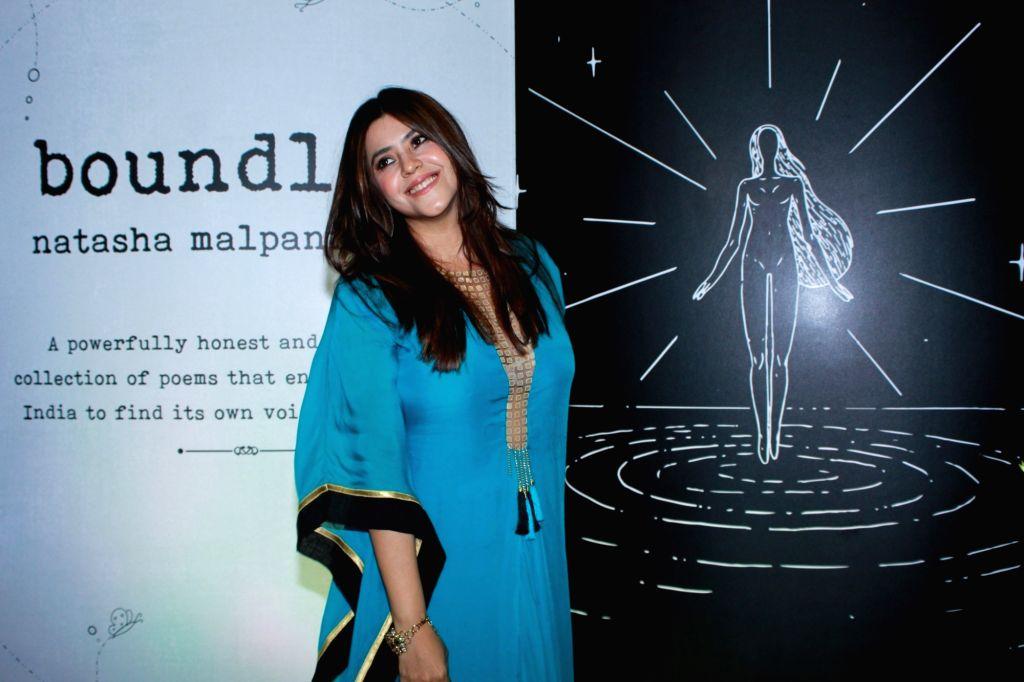 "TV producer Ekta Kapoor at the launch of author Natasha Malpani Oswal's book ""Boundless"", in Mumbai, on April 10, 2019. - Ekta Kapoor"