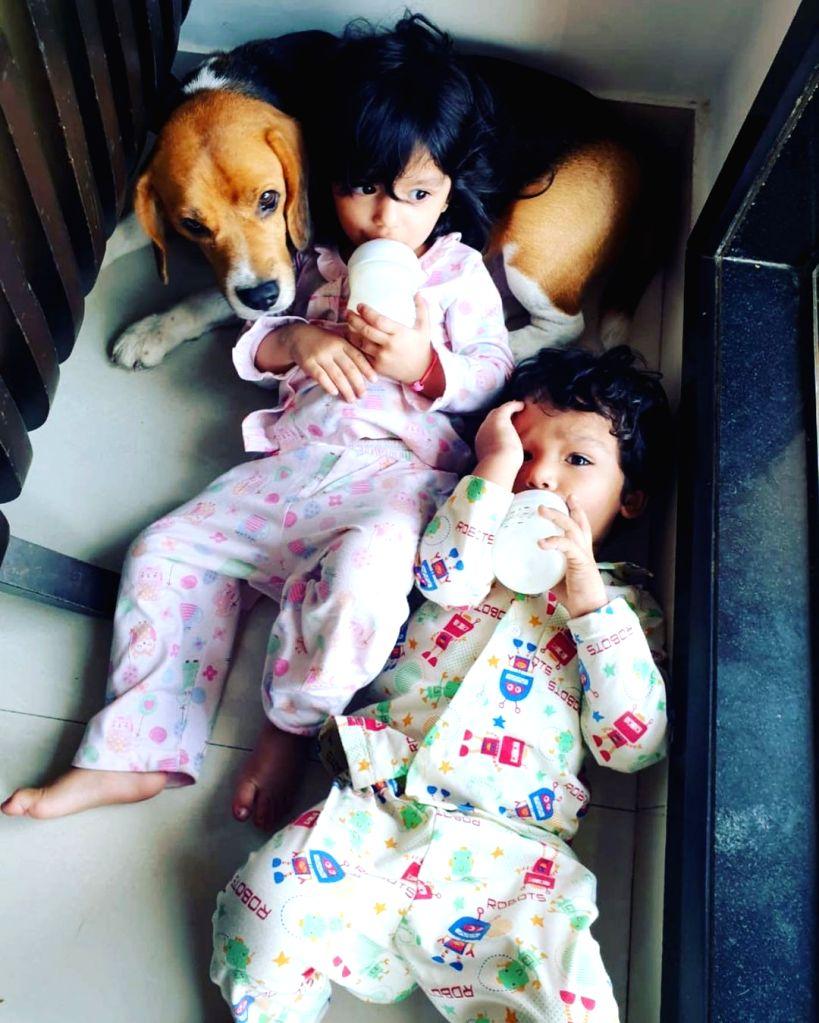 TV star Sourabh Raaj Jain introduces his kids on Children's Day. - Sourabh Raaj Jain