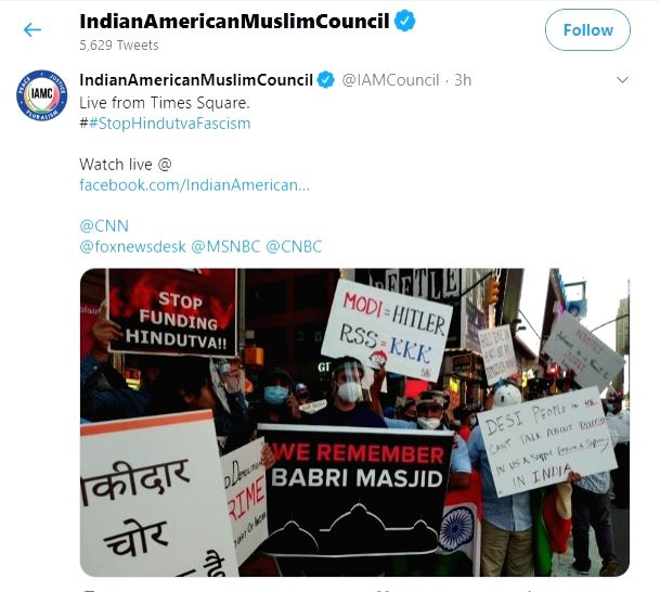 Twitter allowed without any cautionary statement a tweet from the Indian American Muslim Council showing their protest against the celebrations held in New York's Time Square on August 5, 2020.