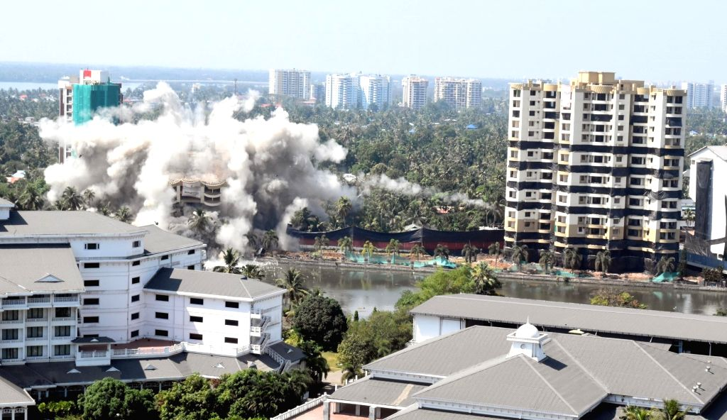 Two blocks of AAlfa Serene flats being demolished at Maradu in Kerala's Kochi on Jan 11, 2020. In a first such explosion in the country, three blocks of flats of two builders were razed to ...