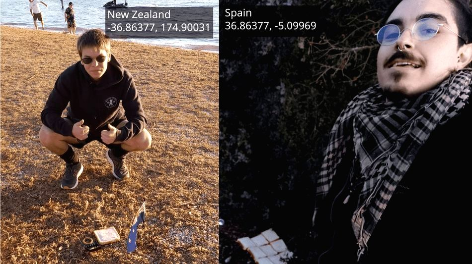 """Two men in New Zealand and Spain have created an """"Earth sandwich"""" by placing slices of bread on precise points, either side of the planet, it was reported on Monday."""