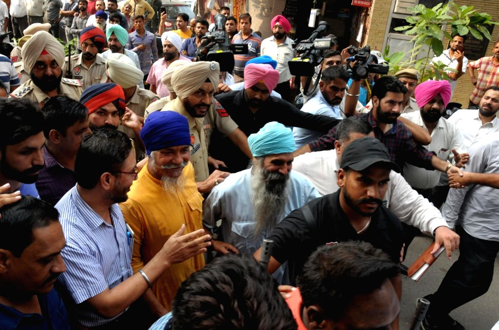Two of the four Khalistan Zindabad Force (KZF) terrorists being taken to be produced before the Court of Judicial Magistrate in Amritsar on Sep 23, 2019. The four terrorists identified as ... - Balwant Singh, Aakashdeep Singh, Harbhajan Singh and Balveer Singh