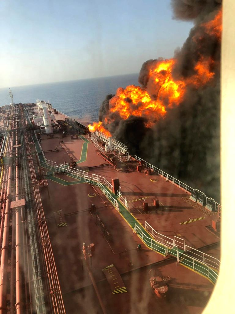 Two oil tankers were hit in a suspected attack in the Gulf of Oman and all crew members onborad were evacuated, on June 13, 2019. The tankers were struck in the same area where the US accused ...