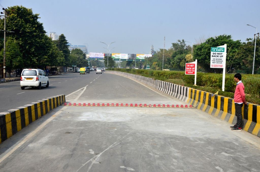 Tyre killers installed on a Noida road, on Feb 3, 2019.