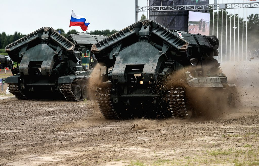 "TYUMEN, Aug. 10, 2019 - Teams of Russia (L) and Belarus compete during the ""Engineering formula"" contest of the International Army games 2019 in Tyumen, Russia, Aug. 10, 2019. The ..."