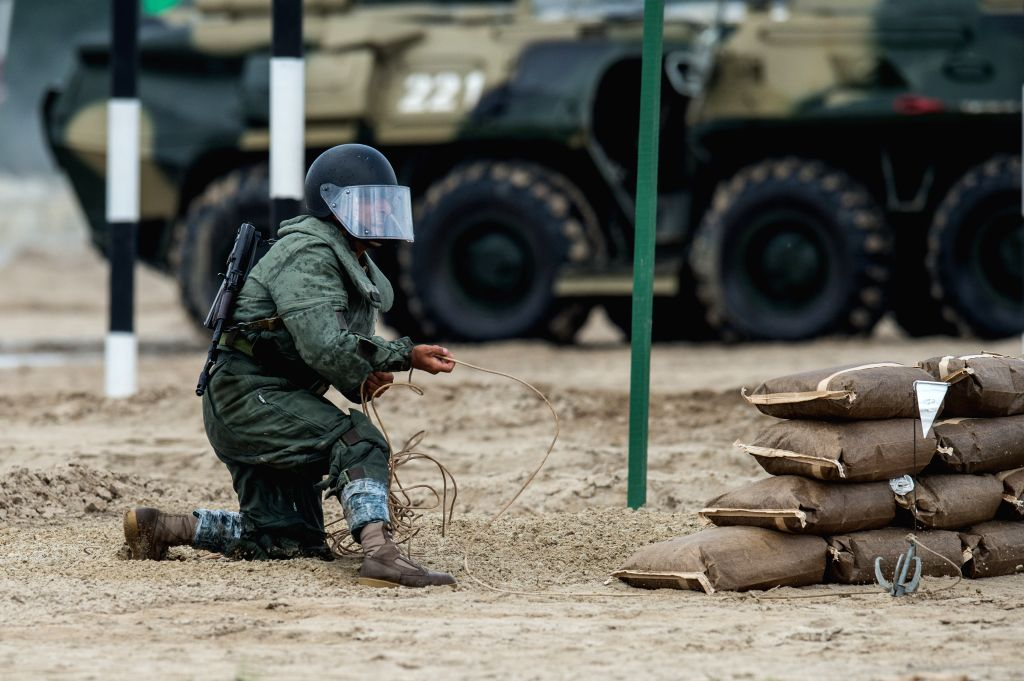 TYUMEN, Aug. 6, 2017 - A military engineer participates in the Safe Route competition of the International Army Games 2017 in Tyumen, Russia, on Aug. 6, 2017. The International Army Games 2017 will ...