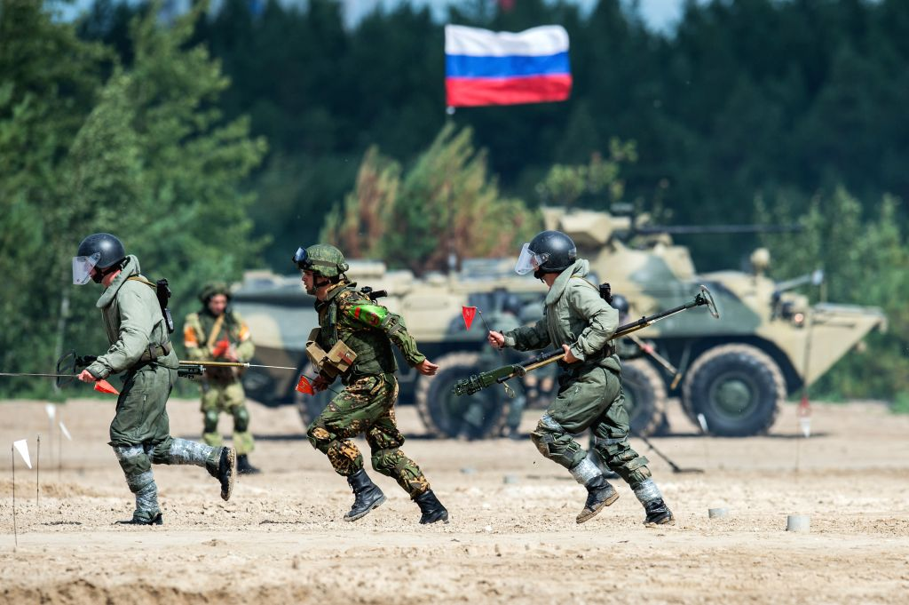 TYUMEN, Aug. 6, 2017 - Military engineers participate in the Safe Route competition of the International Army Games 2017 in Tyumen, Russia, on Aug. 6, 2017. The International Army Games 2017 will be ...