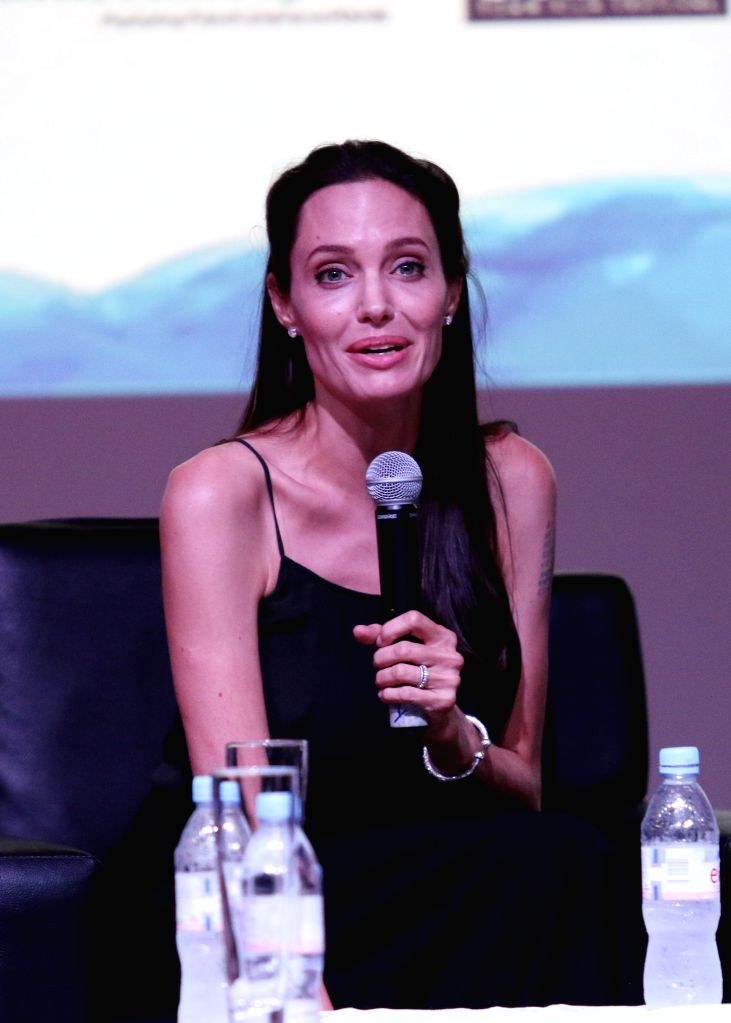 U.S. actress and filmmaker Angelina Jolie Pitt speaks during a conversation on the new generation of Cambodian filmmakers at the Chaktomuk Theater in Phnom Penh, ...