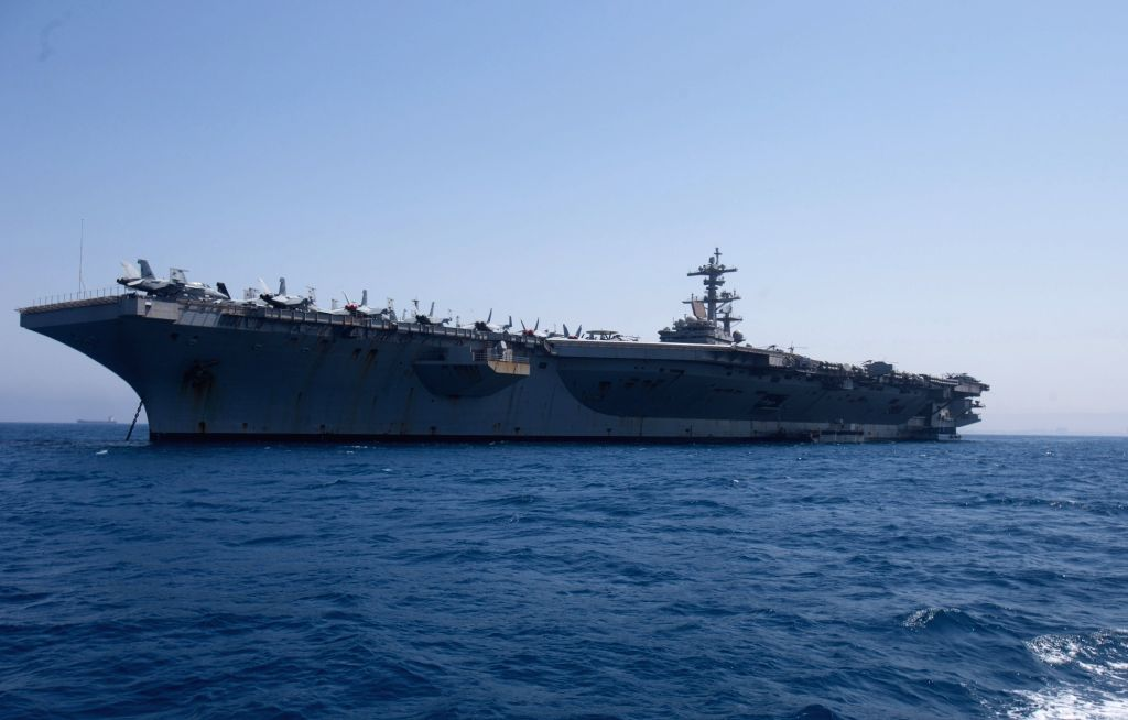 U.S. aircraft carrier USS George H.W. Bush during its visit to Israel's Haifa port on July 3, 2017.
