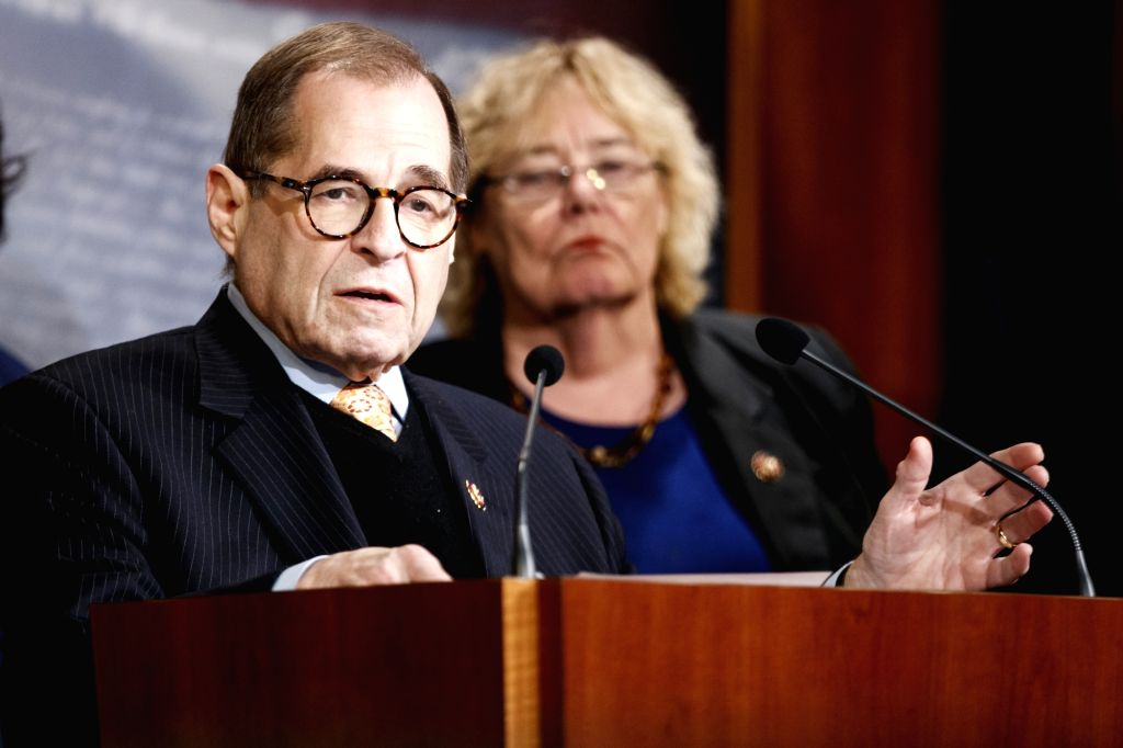 U.S. House Judiciary Committee Chairman Jerry Nadler speaks at a press conference during the Senate impeachment trial on Capitol Hill in Washington D.C., the ...