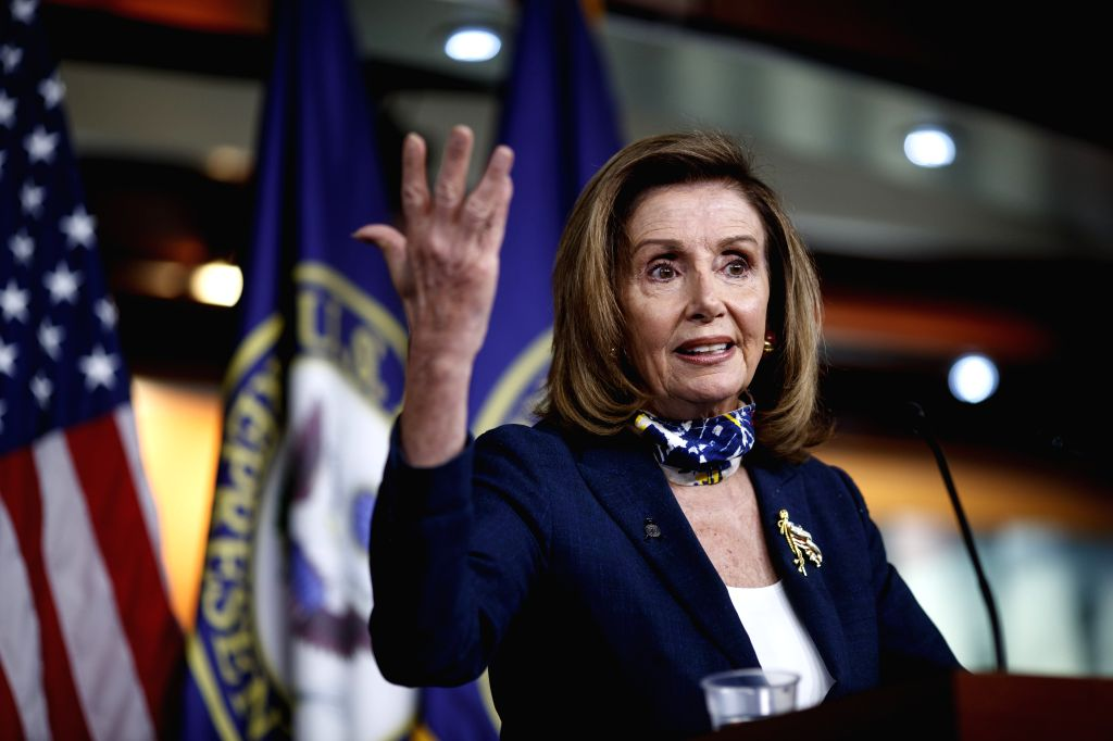 U.S. House Speaker Nancy Pelosi speaks during a press conference on Capitol Hill in Washington, D.C - Nancy Pelosi