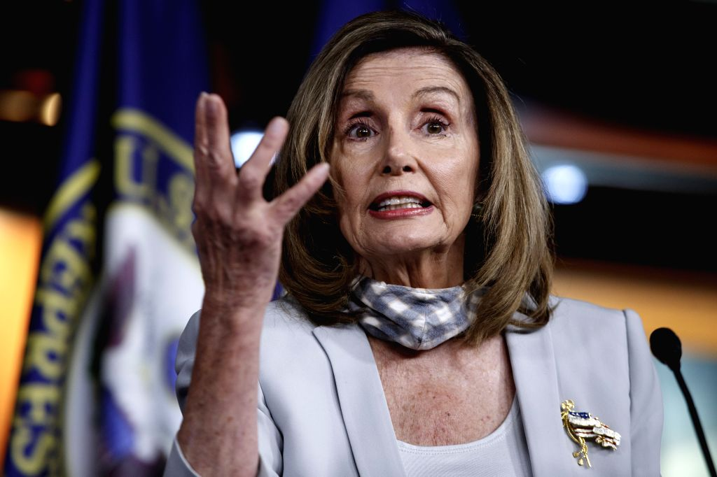 U.S. House Speaker Nancy Pelosi speaks during her weekly press conference on Capitol Hill in Washington, D.C., the United States, on Aug. 13, 2020. The impasse ... - Nancy Pelosi