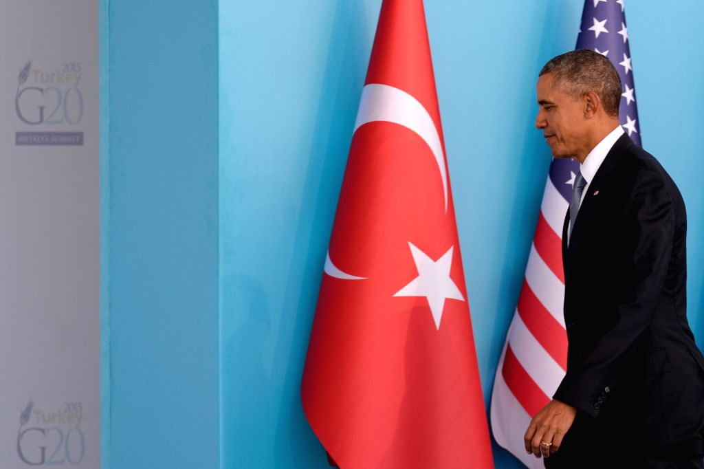 :U.S. President Barack Obama arrives at the welcoming ceremony of G20 Summit held in Antalya, Turkey, on Nov. 15, 2015. The two-day summit kicked off on Sunday. ...